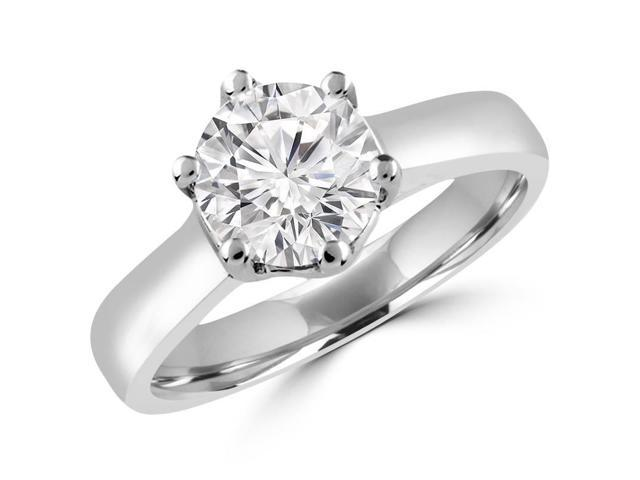 1 CT 6-Prong Solitaire Round Diamond Trellis Engagement Ring in 14K White Gold