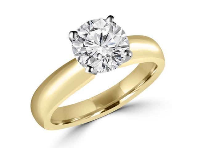 3/4 CT Classic Solitaire Round Diamond Engagement Ring in 14K Yellow Gold