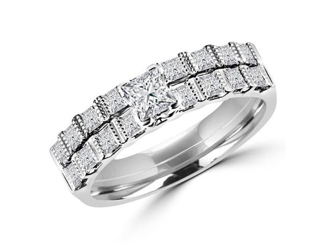 1 CTW Diamond Engagement Ring and Wedding Band Bridal Set in 14K White Gold (MD120248)