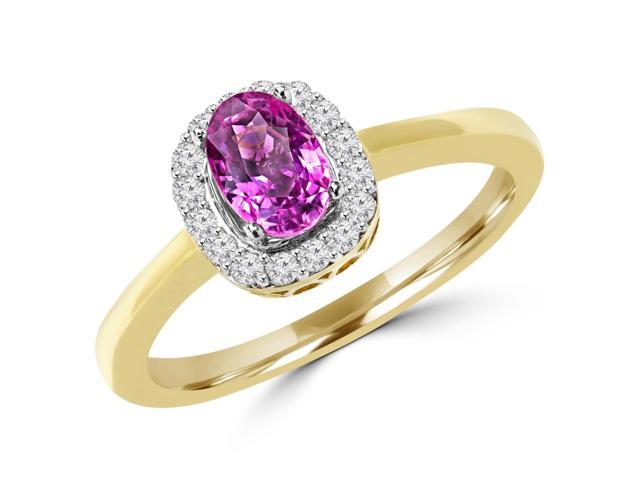 1 CTW Oval Cut Pink Sapphire and Diamond Cocktail Ring in 14K Yellow Gold (MD120878)