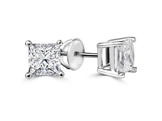 2 CTW Princess Cut Solitaire Diamond Stud Earrings in 14K White Gold with Screw Backs