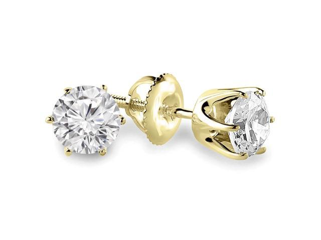 3/4 CTW 6-Prong Solitaire Diamond Stud Earrings in 14K Yellow Gold with Screw Backs