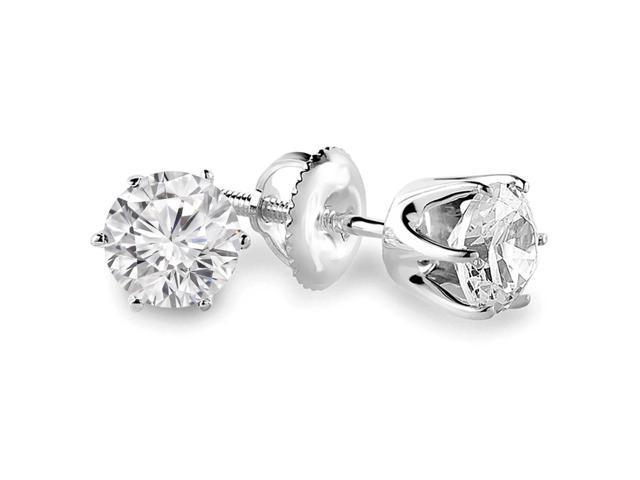 1/2 CTW 6-Prong Solitaire Diamond Stud Earrings in 14K White Gold with Screw Backs (SI1-SI2)