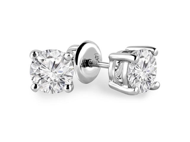 1 1/2 CTW Solitaire Round Diamond Stud Earrings in 14K White Gold with Screw Backs