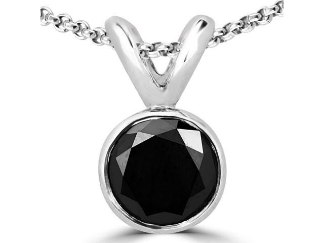 1/5 CT Bezel Set Solitaire Round Black Diamond Pendant Necklace in 14K White Gold With Chain
