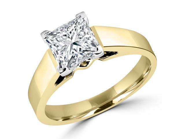 1 CT Solitaire Princess Cut Diamond Cathedral Engagement Ring in 14K Yellow Gold