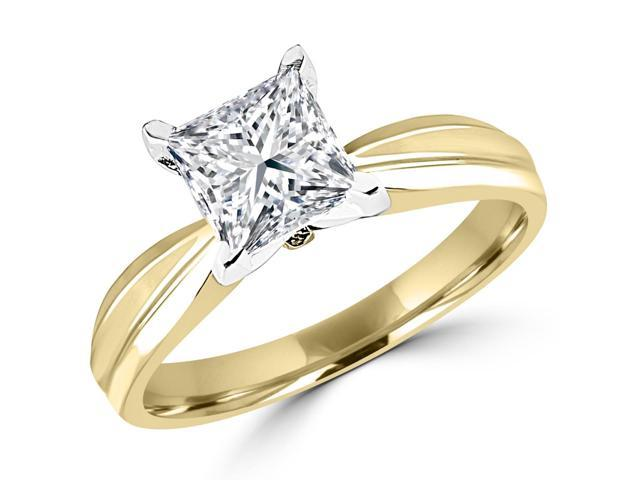 1 CT Solitaire Princess Cut Diamond Tapered Shank Engagement Ring in 14K Yellow Gold
