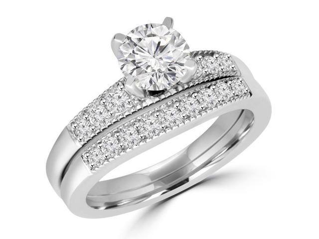 2 CTW Multi Stone Round Cut Cubic Zirconia Engagement Ring & Wedding Band