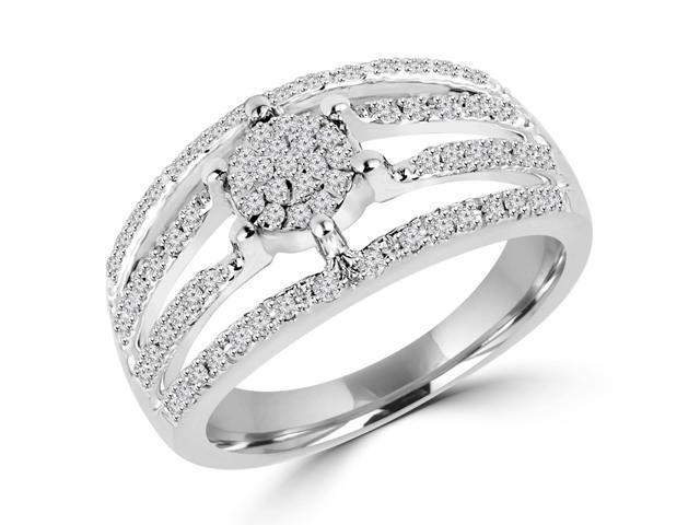 1/3 CTW Diamond Flower Cocktail Ring in 14K White gold (MD120010)