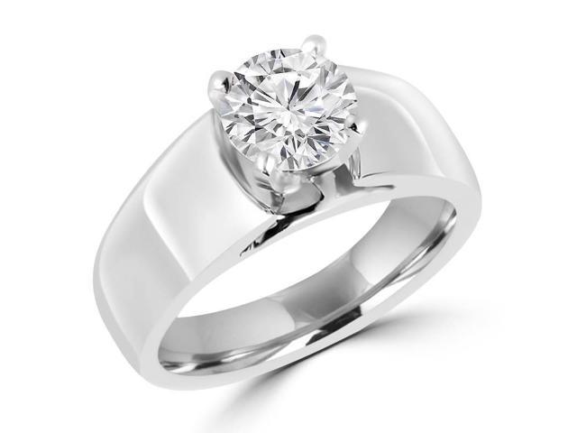 3/4 CT Solitaire Round Diamond Wide Shank Engagement Ring in 14K White Gold