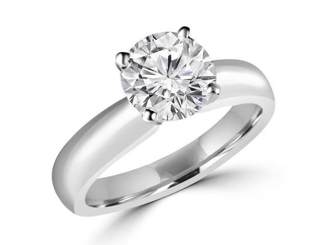 1/2 CT Classic Solitaire Round Diamond Engagement Ring in 14K White Gold