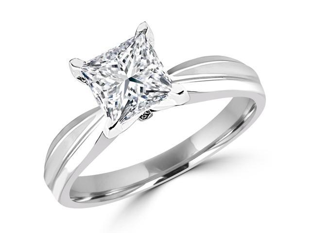 1/2 CT Solitaire Princess Cut Diamond Tapered Shank Engagement Ring in 14K White Gold (SI)