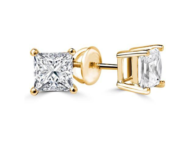 3/4 CTW Princess Cut Solitaire Diamond Stud Earrings in 14K Yellow Gold with Screw Backs