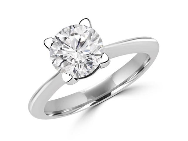 1/2 CT Solitaire Round Diamond Knife Edge Engagement Ring in 14K White Gold