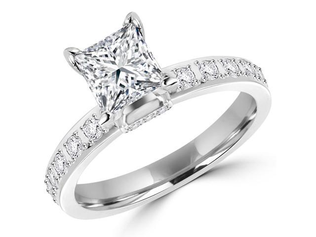 1 1 2 CTW Princess Cut Multi Stone Diamond Engagement Ring in 14K White Gold