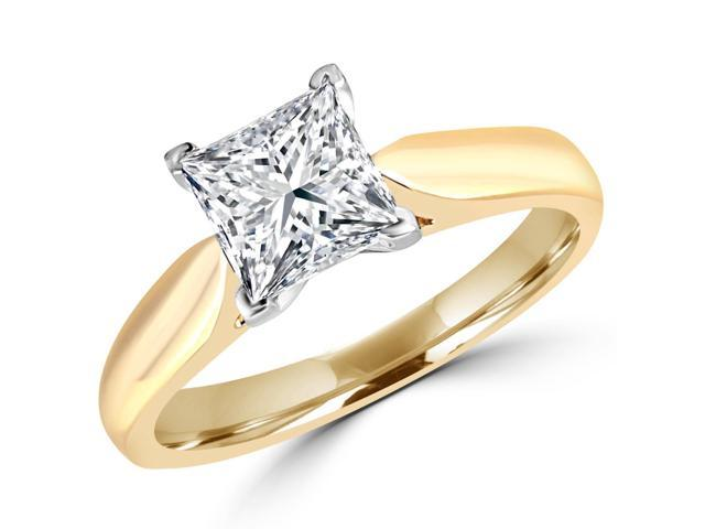 1 CT Classic Solitaire Princess Cut Diamond Engagement Ring in 14K Yellow Gold