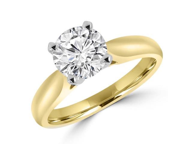 3/4 CT Solitaire Round Diamond Tapered Cathedral Engagement Ring in 14K Yellow Gold