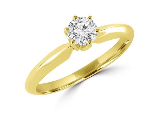 1/5 CT 6-Prong Solitaire Round Diamond Engagement Ring in 10K Yellow Gold