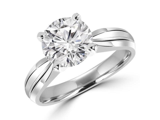 1/2 CT Solitaire Round Diamond Tapered Shank Engagement Ring in 14K White Gold