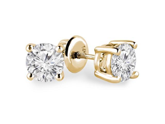 1 CTW Solitaire Round Diamond Stud Earrings in 14K Yellow Gold with Screw Backs (SI1-SI2)