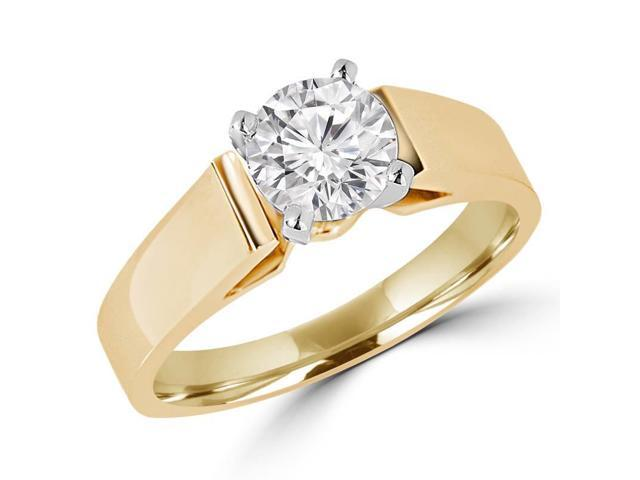 1/2 CT Solitaire Round Diamond Cathedral Engagement Ring in 14K Yellow Gold (SI)