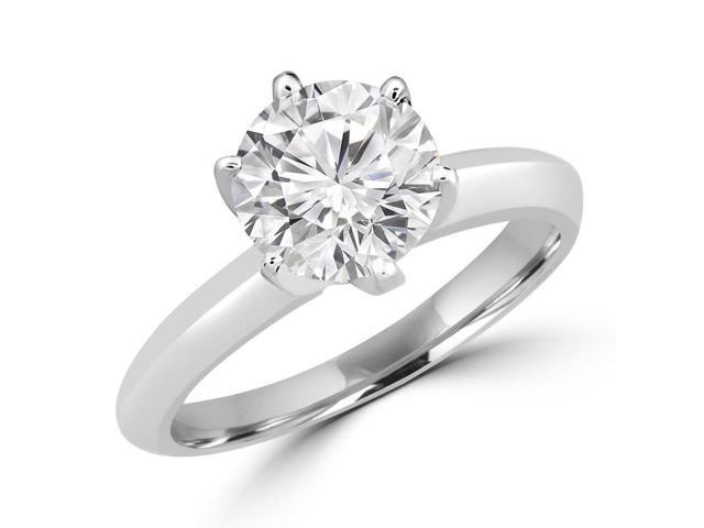 1/2 CT 6-Prong Solitaire Round Diamond Engagement Ring in 14K White Gold