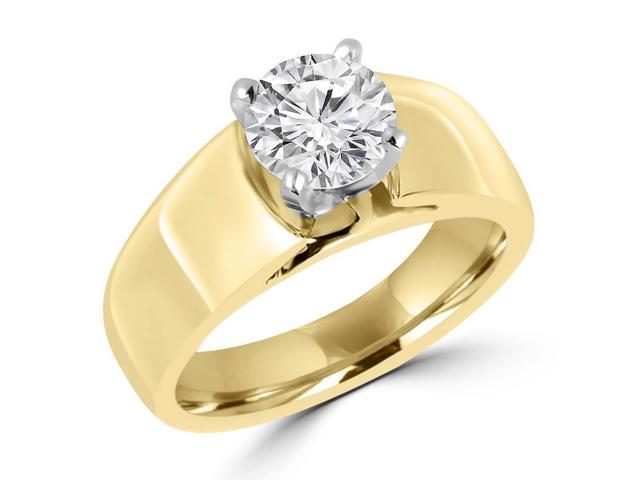 3/4 CT Solitaire Round Diamond Wide Shank Engagement Ring in 14K Yellow Gold
