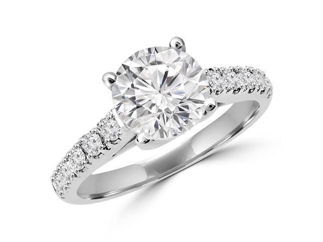 3/4 CTW Multi Stone Round Cut Diamond Engagement Ring in 14K White Gold