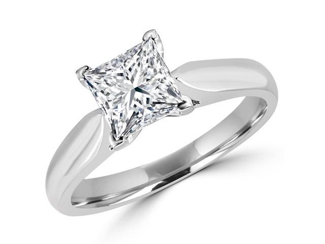 1/2 CT Classic Solitaire Princess Cut Diamond Engagement Ring in 14K White Gold