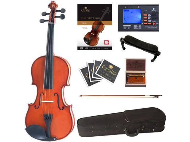 Cecilio CVN-100 1/2 Size Rosewood Fitted Violin with Case, Accessories and Lesson Book + DVD