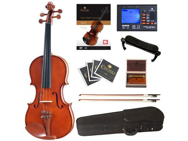 Cecilio 1/4 CVN-200 Solid Wood Violin Package with Case, Accessories and Lesson Book + DVD