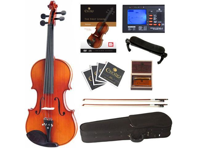Cecilio 3/4 CVN-300 Ebony Fitted Solid Wood Violin Package with Case, Accessories & Lesson Book + DVD