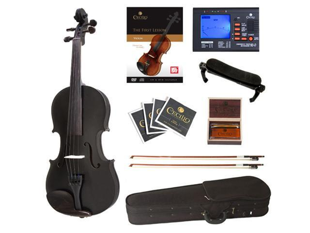 Cecilio Full Size 4/4 CVN-Black Ebony Fitted Solid Wood Metallic Black Violin with Case, Tuner, Accessories & Lesson Book + DVD