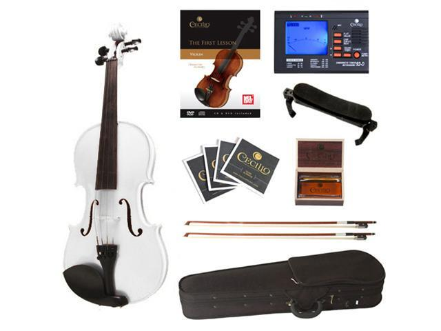 Cecilio Full Size 4/4 CVN-White Ebony Fitted Solid Wood Metallic White Violin with Case, Tuner, Accessories & Lesson Book + DVD