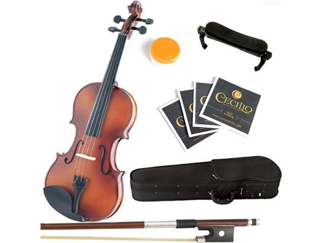 Mendini 4/4 MV300 Solid Wood Violin in Antique Satin Finish with Hard Case, Shoulder Rest, Bow, Rosin and Extra Strings