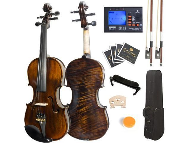 Mendini 3/4 MV500 Flamed 1-Piece Back Solid Wood Violin with Case, Tuner, Shoulder Rest, Bow, Rosin, Bridge and Strings - Full Size