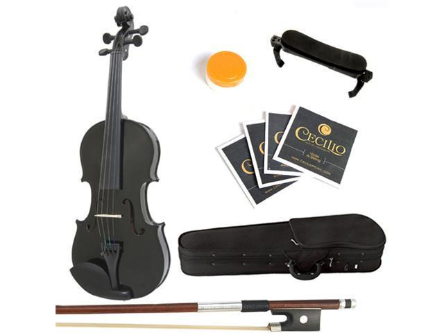 Mendini  1/4 MV-Black Solid Wood Metallic Black Violin + Hard Case, Shoulder Rest, Bow, Rosin & Strings