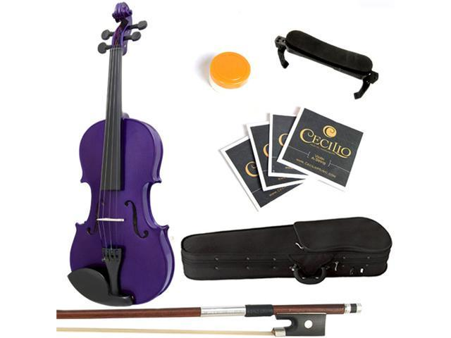 Mendini  4/4 (Full Size) MV-Purple Solid Wood Metallic Purple Violin + Hard Case, Shoulder Rest, Bow, Rosin & Strings
