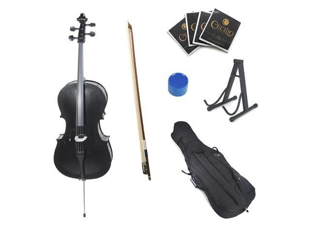 Cecilio 1/4 CCO-Black Student Cello in Black Metallic with Soft Case, Bow, Rosin, Bridge, Strings & Cello Stand