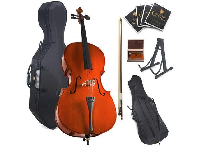 Cecilio 1/2 CCO-100+HC Student Cello with Hard and Soft Case, Bow, Rosin, Bridge, Strings and Cello Stand