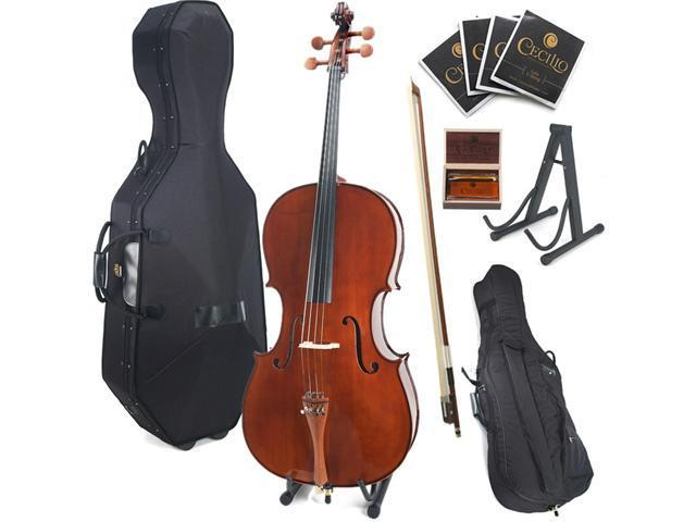 Cecilio 4/4 CCO-300 Rosewood Fitted Solid Wood Cello with Hard and Soft Case, Bow, Rosin, Bridge, and Strings (Full Size)