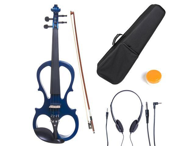 Cecilio 3/4CEVN-1BL Size 3/4 Electric Silent Solidwood Violin w/ Ebony Fittings in Style 1 - Metallic Blue