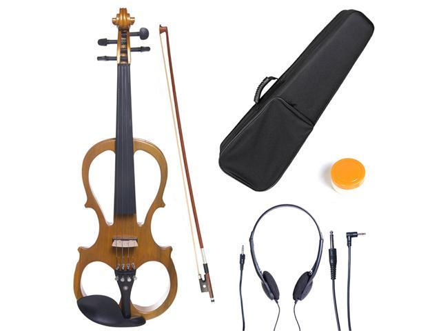 Cecilio 3/4CEVN-1Y Size 3/4 Electric Silent Solidwood Violin w/ Ebony Fittings in Style 1 - Metallic Maple