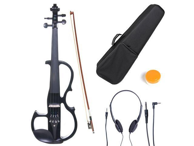 Cecilio 1/2CEVN-2BK Size 1/2 Electric Silent Solidwood Violin w/ Ebony Fittings in Style 2 - Metallic Black