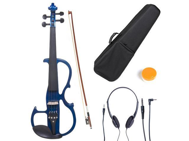 Cecilio 4/4CEVN-2BL 4/4 Full Size Electric Silent Solidwood Violin w/ Ebony Fittings in Style 2 - Metallic Blue
