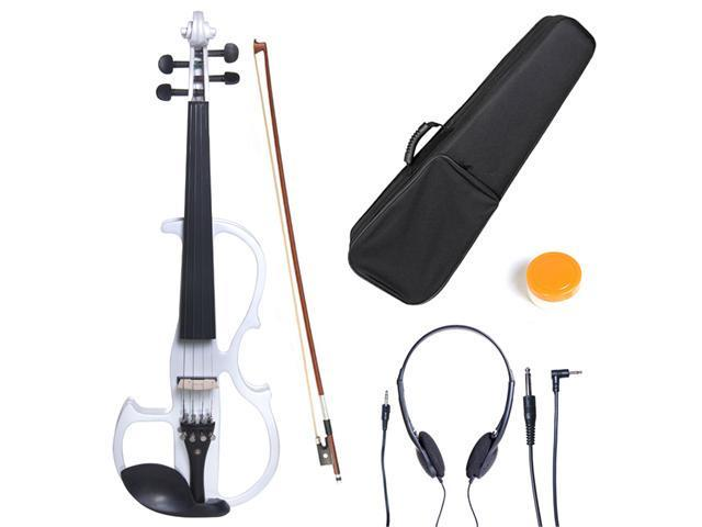Cecilio 4/4CEVN-2W 4/4 Full Size Electric Silent Solidwood Violin w/ Ebony Fittings in Style 2 - Metallic Pearl White