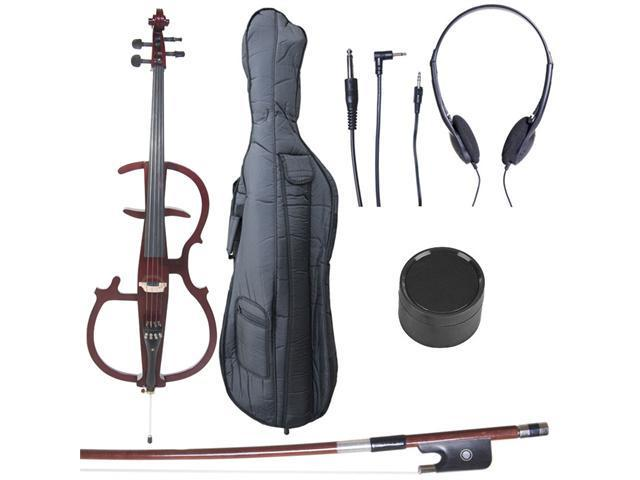 Cecilio CECO-2DW Full Size 4/4 Ebony Electric Silent Metallic Mahogany Cello in Style 2 +Soft Case, Bow & Accessories