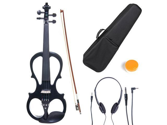 L4/4CEVN-L1BK 4/4 Full Size LEFT HANDED Electric Silent Solidwood Violin w/ Ebony Fittings in Metallic Black