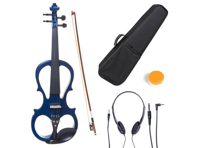 L1/2CEVN-L1BL Size 1/2 LEFT HANDED Electric Silent Solidwood Violin w/ Ebony Fittings in Metallic Blue