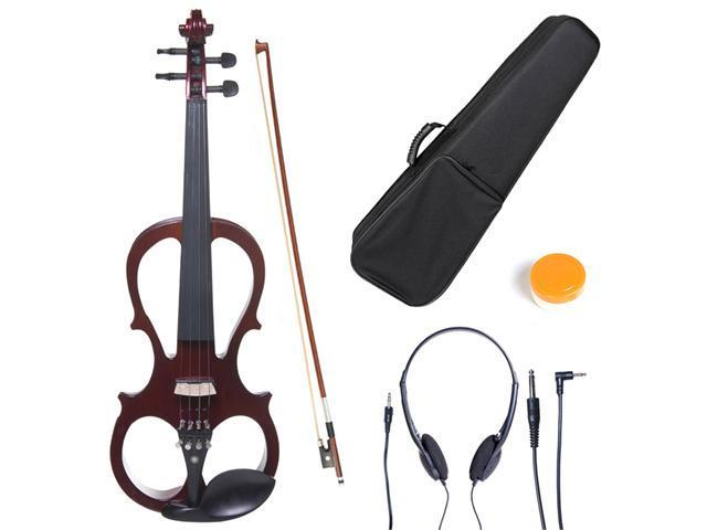 L4/4CEVN-L1NA 4/4 Full Size LEFT HANDED Electric Silent Solidwood Violin w/ Ebony Fittings in Metallic Mahogany